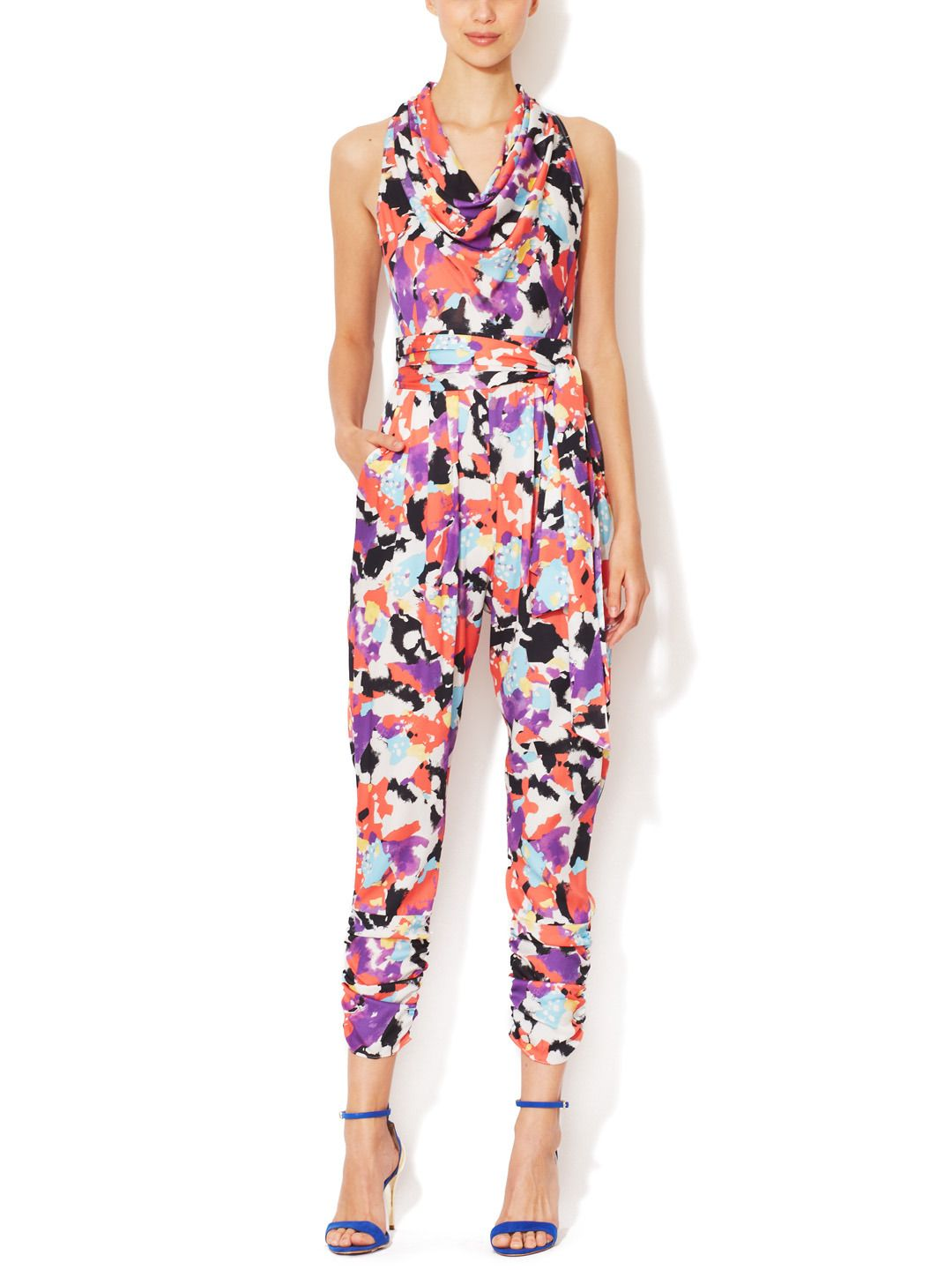 Silk Belted Cowlneck Jumpsuit by Catherine Malandrino