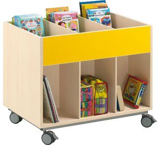 Mueble biblioteca doble cara con ruedas kid s for Mobiliario para parvulos