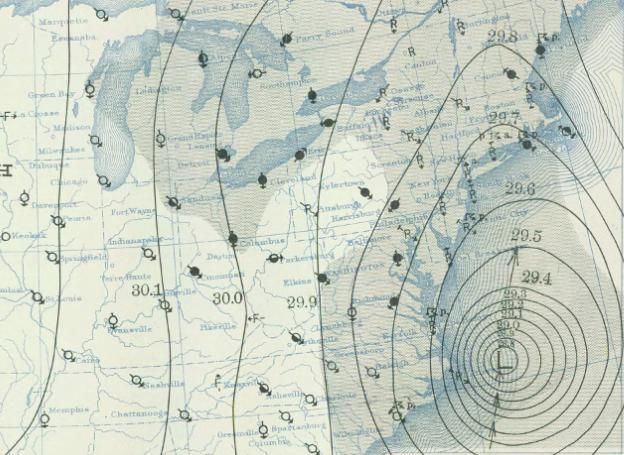 Weather map from the 1938 New England hurricane Graphic