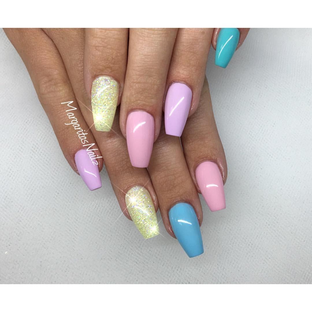Patel color coffin nails spring nail art 2016 | Nail Art ...