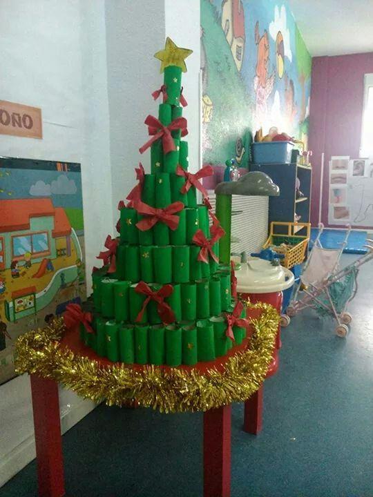Rbol de navidad con rollos de papel higi nico navidad - Arbol de navidad con papel ...