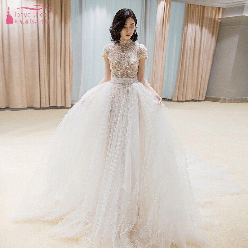 Find More Wedding Dresses Information about Vestido de Noiva 2019 High Neck  Wedding Dresses Lace Applique 57ebd5856986