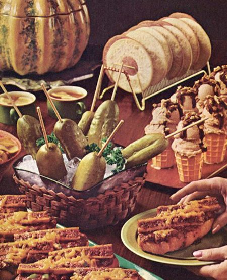 ice cream cones and pickles on a stick mystery meat and cheez wiz sandwich it s a buffet o food cravings