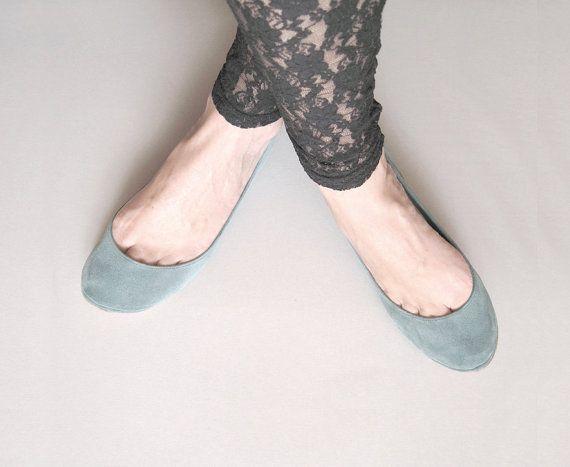 Dusty Cold Gray Handmade Ballet Flats by elehandmade