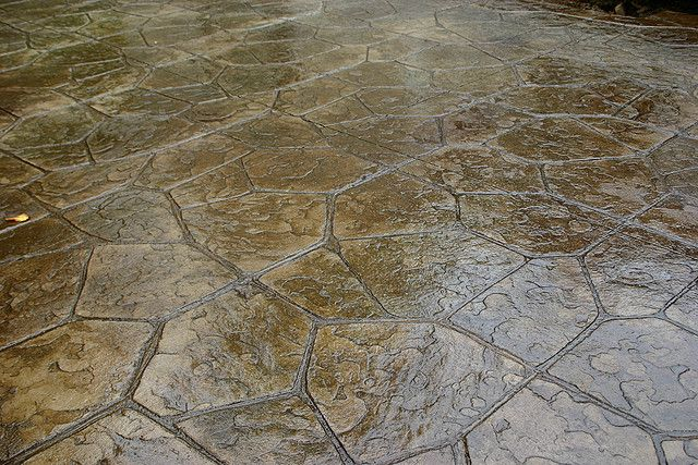 not brown nice color flagstone stamped concrete patio natural