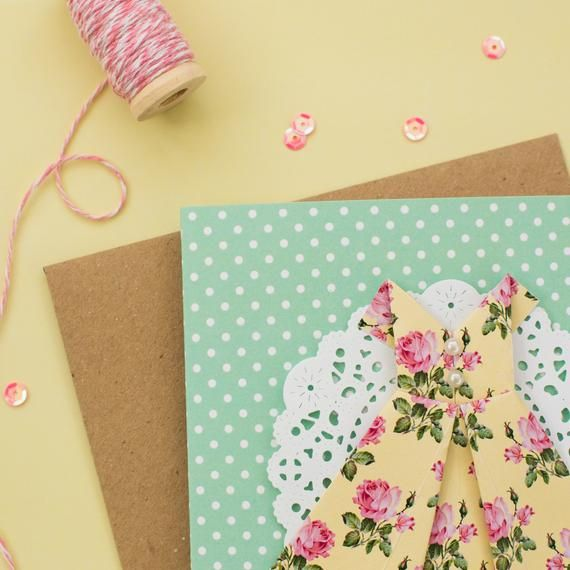 Photo of Green Polka Dot Origami Dress Card – Handmade – Die Cut Doily – Birthday – Bridesmaid Card – Birthda