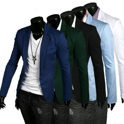 Stylish-Men-s-Casual-Slim-fit-One-Button-Suit-Blazer-Coat-Jackets-5-Sizes-Colors