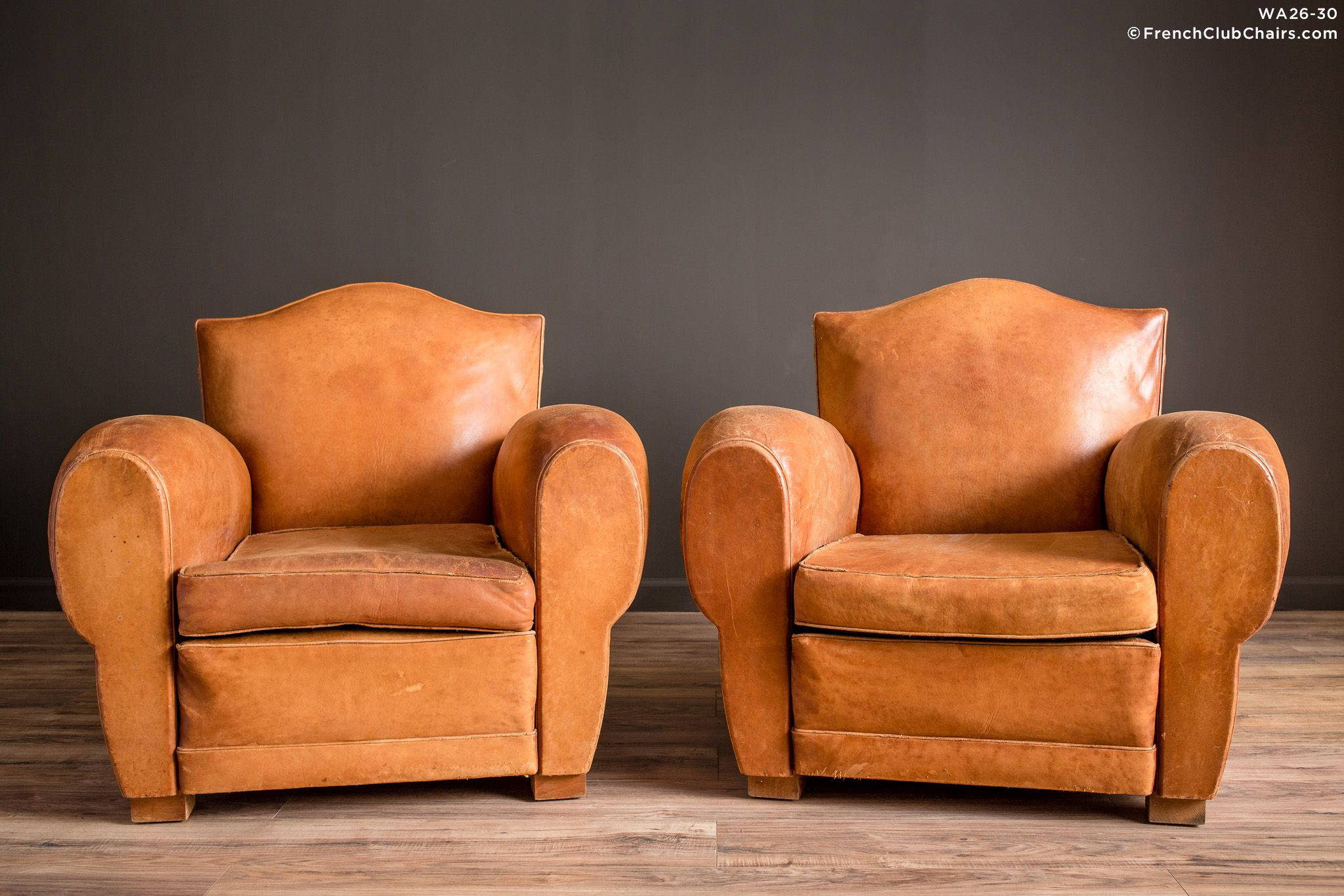 French Club Chair #53 - French Club Chairs By Williamu0027s Antiks | WA26-30 Giverny Gendarme Light  Caramel Pair Of