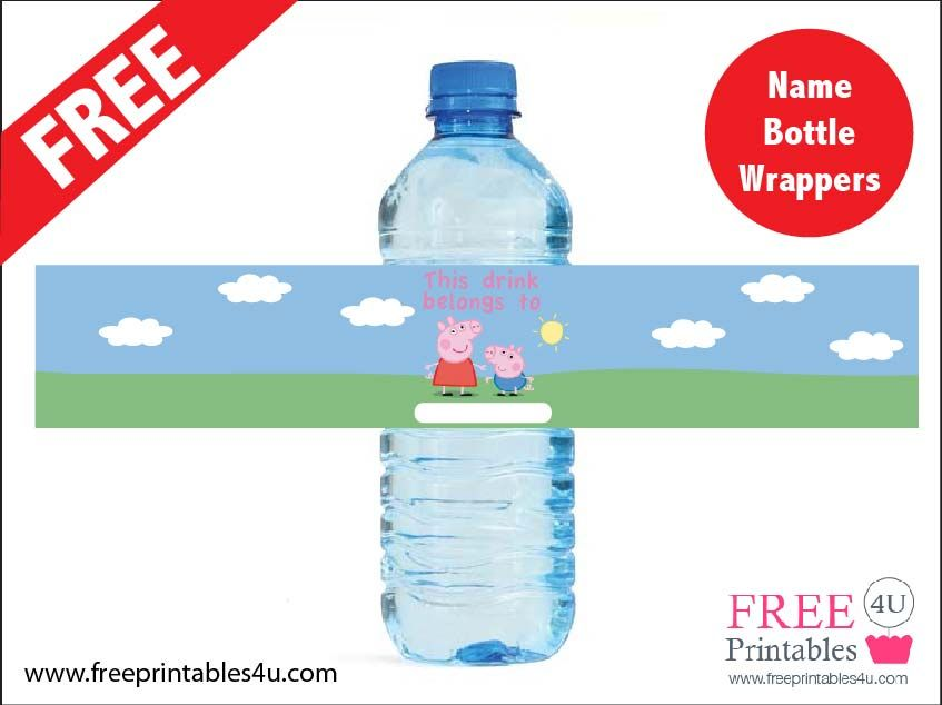 peppa pig water bottle labels free google search