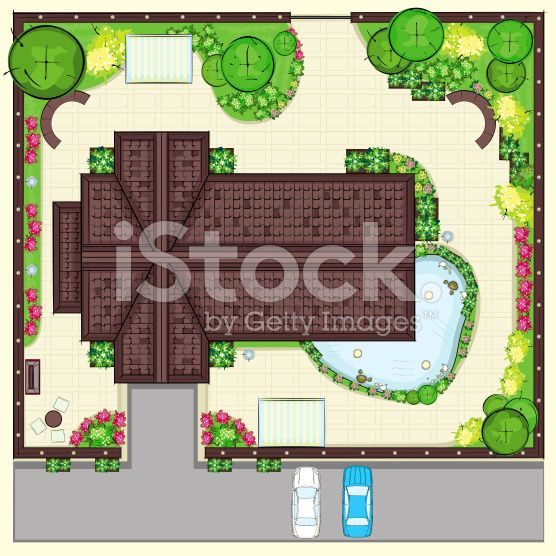 Residential House Plan With A Beautiful Garden Top View Royalty Free Stock Illustration