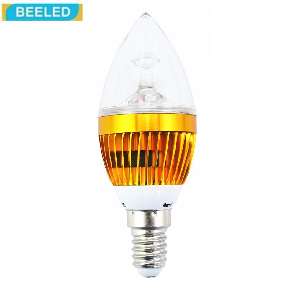 LED Candle bulb lamp Aluminum shell E14 3W Gold white LED Wholesale