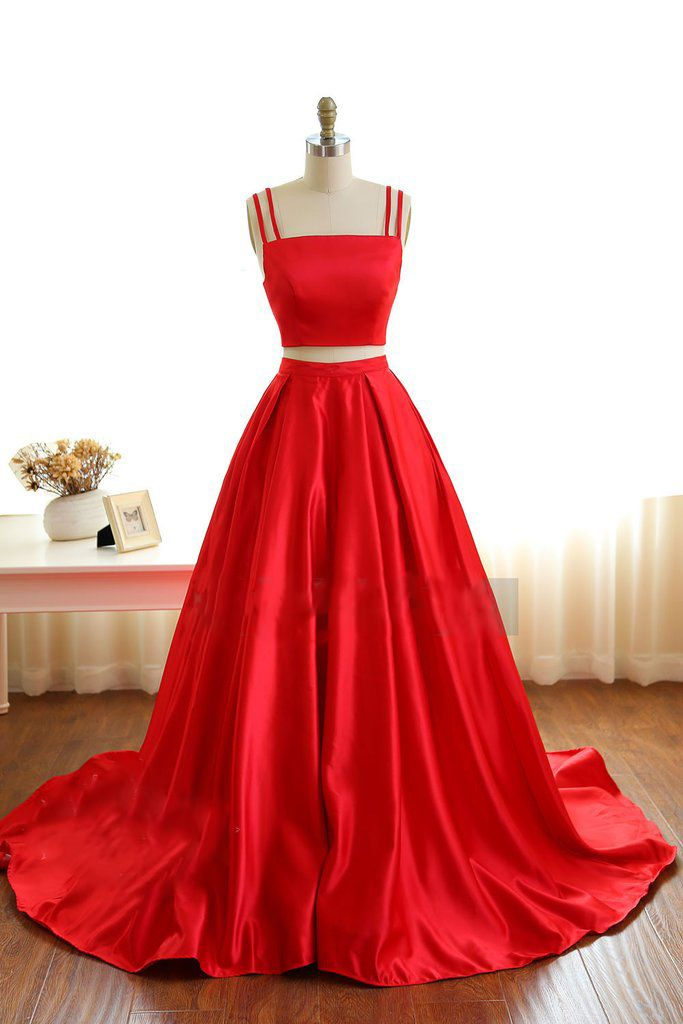 a2a36b471f0e Two pieces prom dress, ball gown, simple red satin long prom dress with  straps