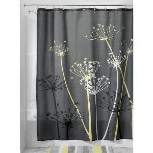 Interdesign Thistle Grey And Yellow Shower Curtain Bathroom