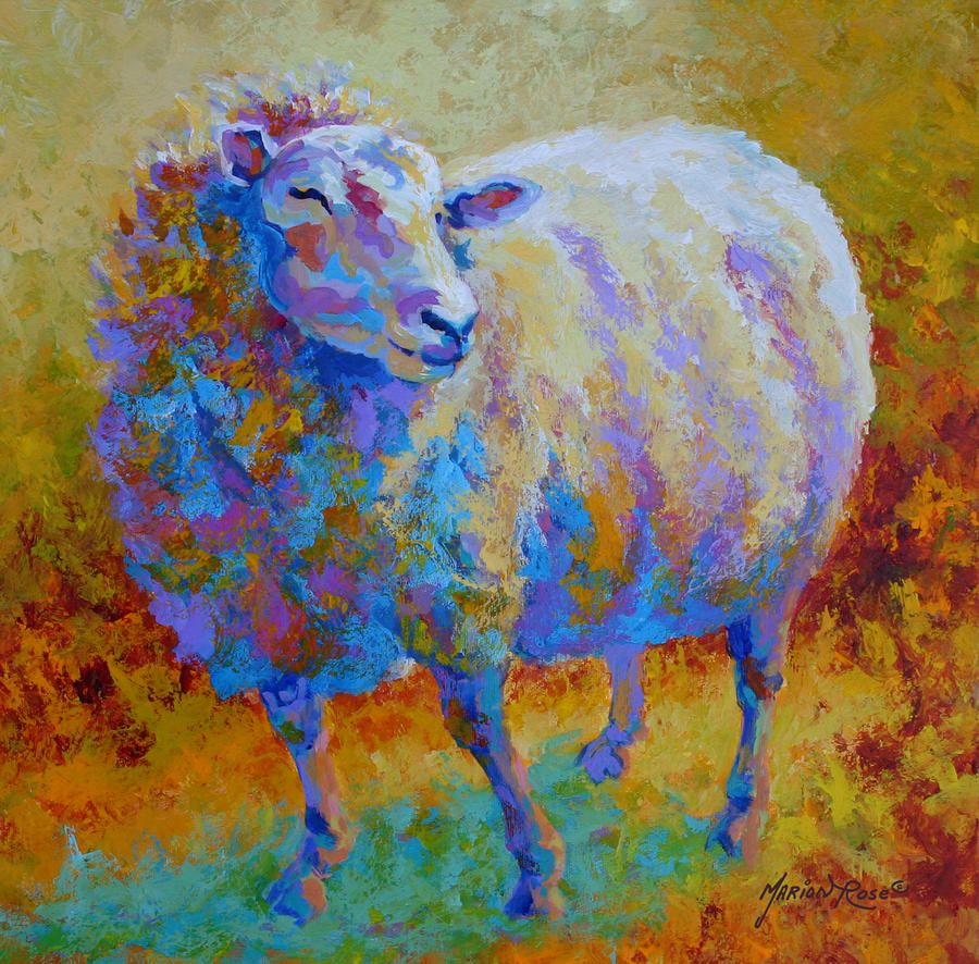 Fine watercolor art for sale - Me Me Me Sheep Painting By Marion Rose Me Me Me Sheep Fine