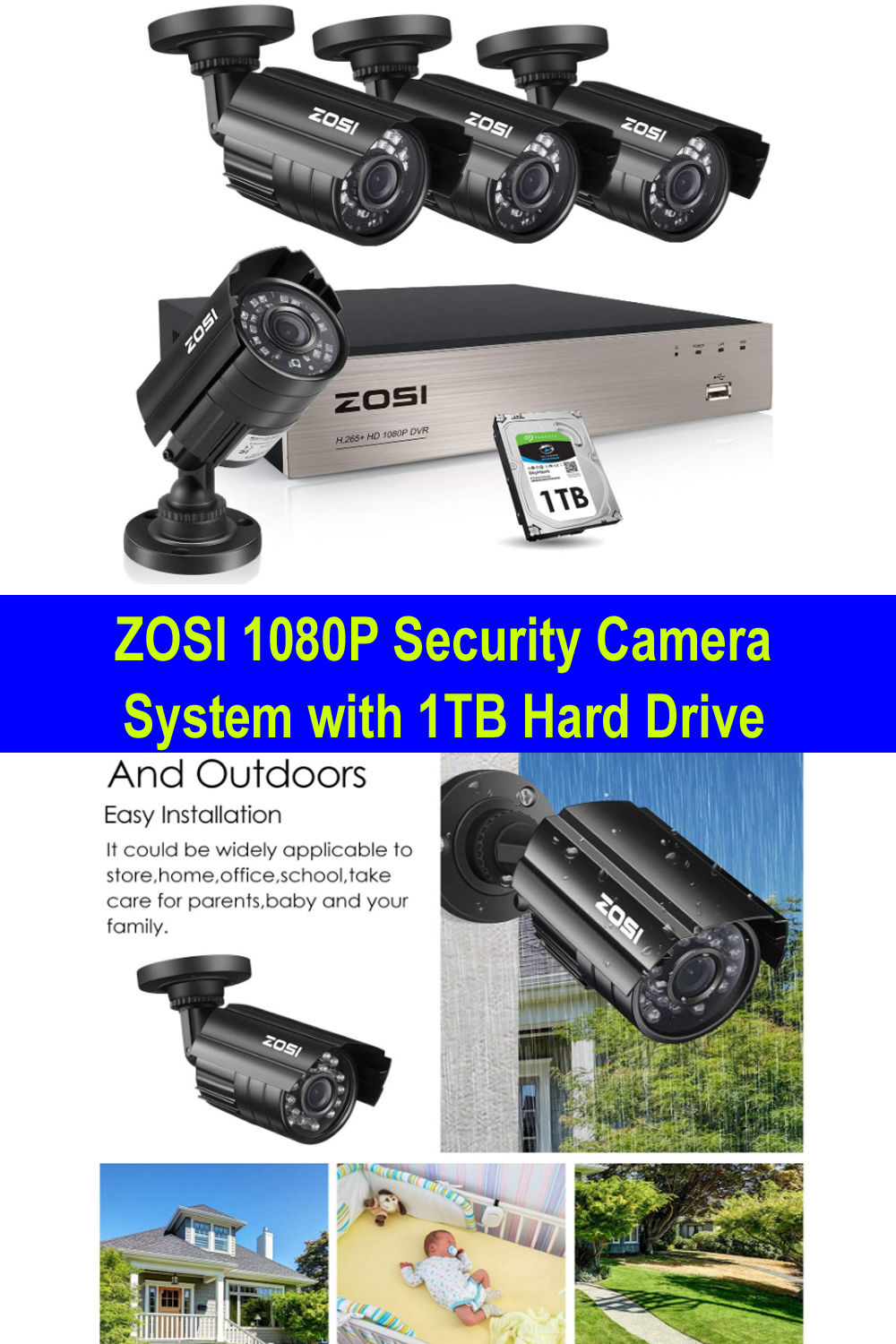 Zosi 1080p Security Camera System With 1tb Hard Drive Security Camera System Best Security Cameras Security Camera