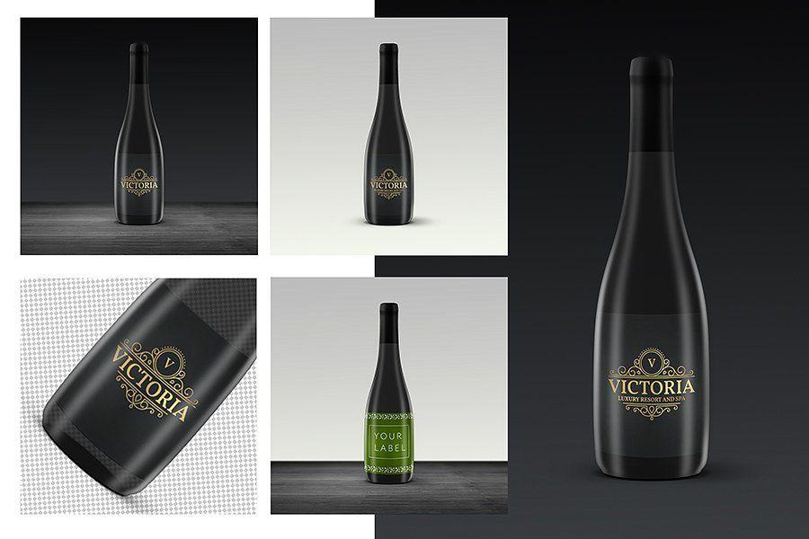Download Wine Label Bottle Psd Mockup Template Wine Bottle Labels Design Mockup Free