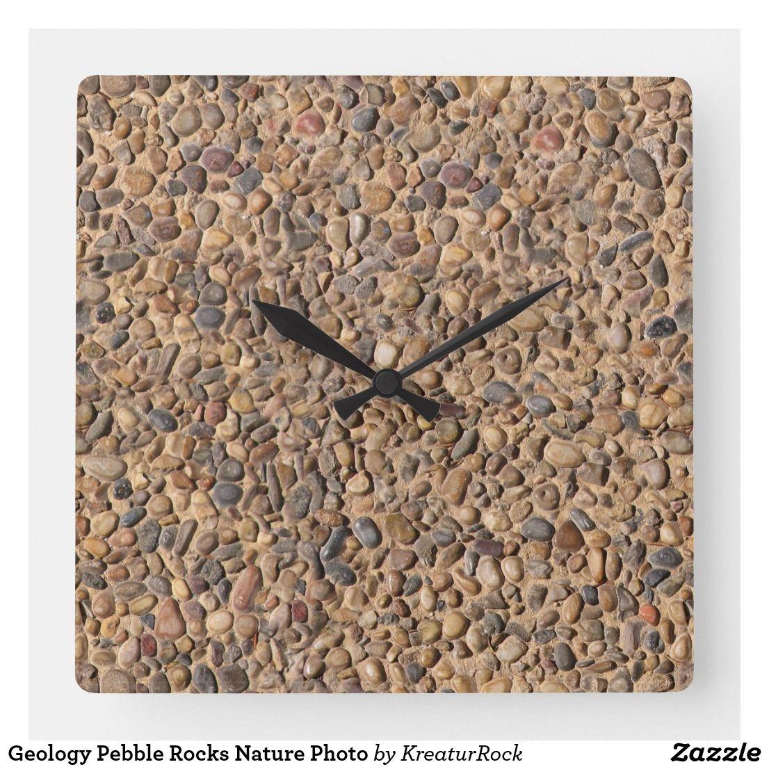 Geology Pebble Rocks Nature Photo Square Wall Clock Zazzle Com Clock Pebble Stone Nature Photos