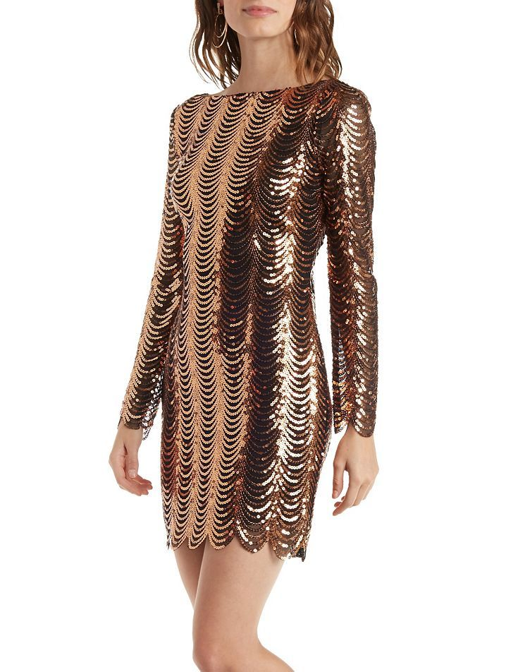 e9001ea2f0 Long Sleeve Scalloped Sequin Dress by Charlotte Russe - Gold Combo ...