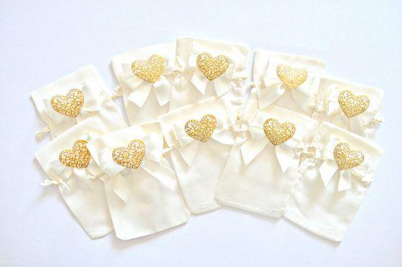 White And Gold Wedding Favor Bag Wedding Favor Bags Satin Favor
