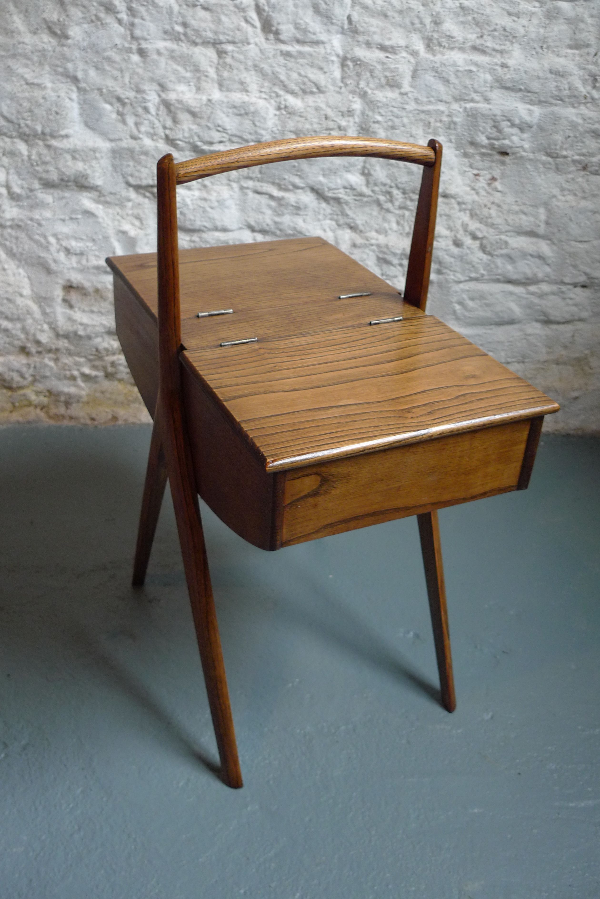 50 s Sewing Craft Box Side Table with scissor legs and hinged