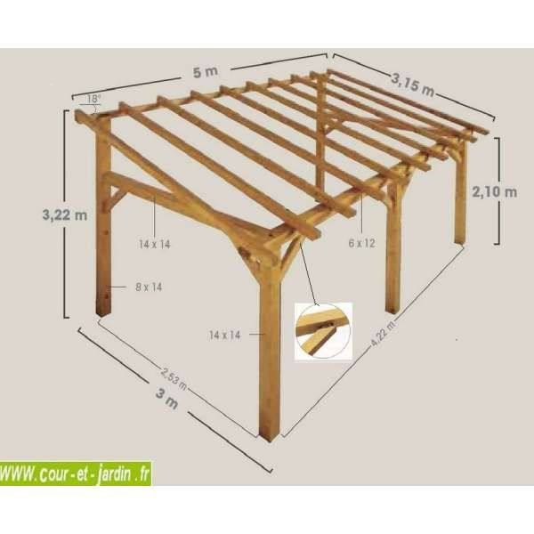 Auvent terrasse sherwood carport bois de 5mx3 garage for Construire une porte