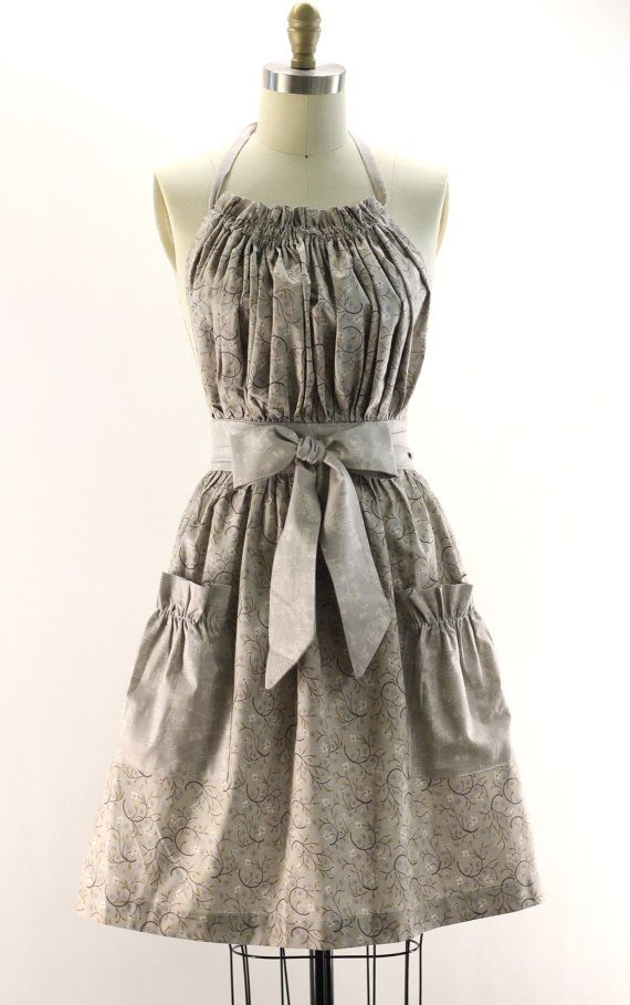 Grey floral bib dress