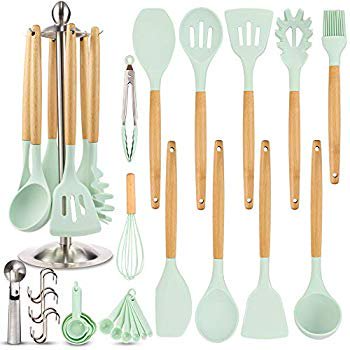 Silicone Kitchen Cooking Utensil Set Eagmak 16pcs Kitchen Utensils Spatula Set With Stainless Steel Stand For Nonstick Cookware Bpa Free Non Toxic Cooking Ute In 2021 Cooking Utensils Set Silicone Cooking