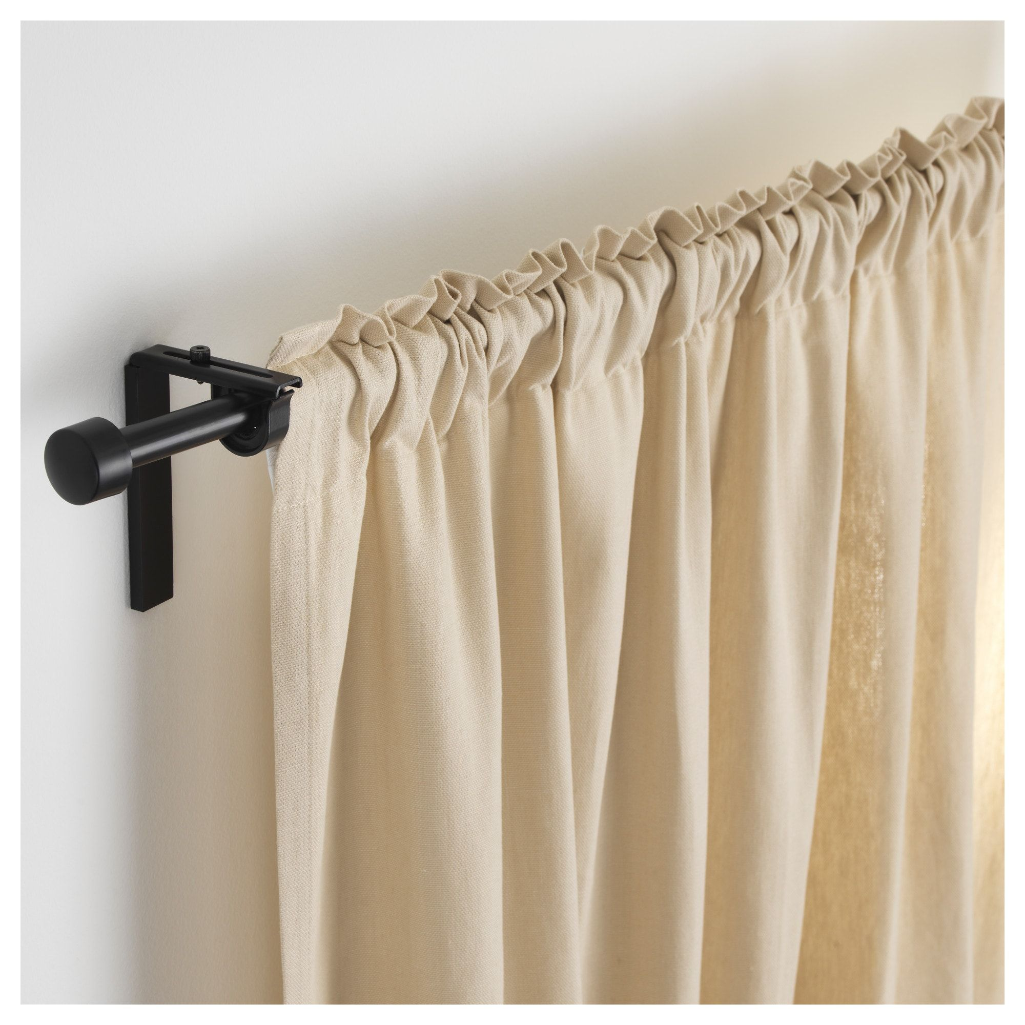 Ikea Racka Black Curtain Rod Combination In 2019 Black Curtain