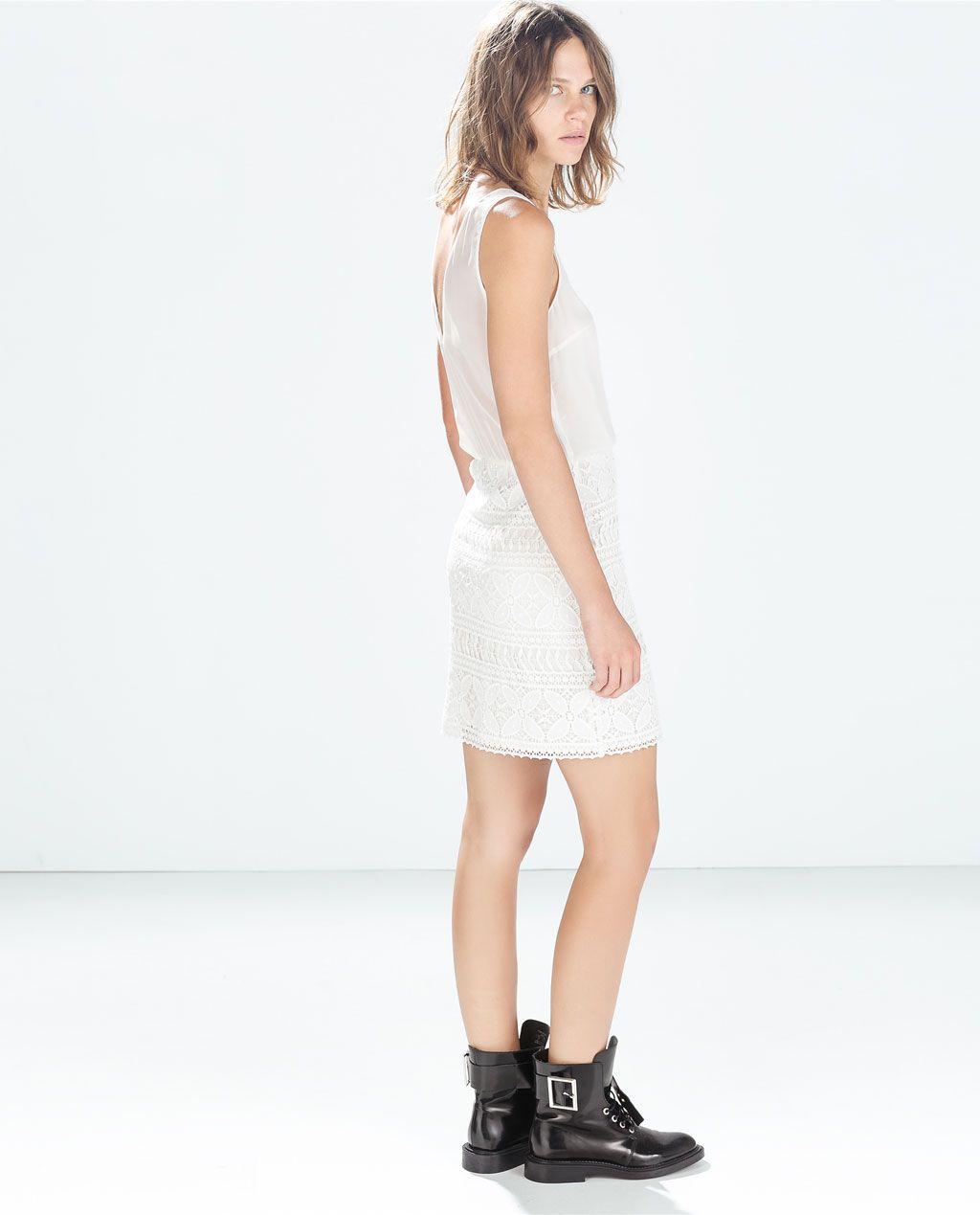 White lace dress zara  ZARA  NEW THIS WEEK  MIXED FABRICS DRESS  WL  Pinterest