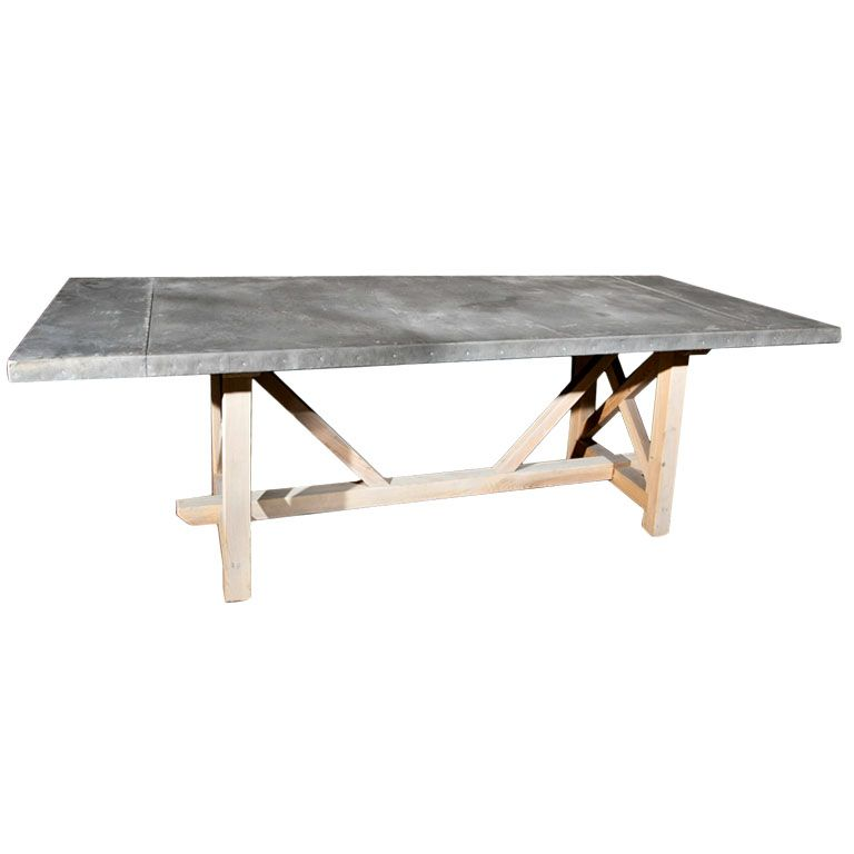 Belgian Zinc Top Trestle Base Table Trestle Base Table Trestle Base Table