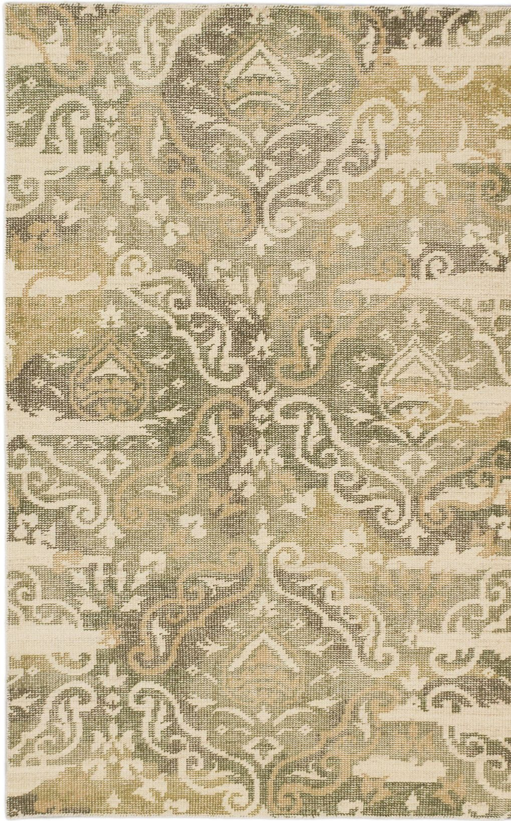 Jules Ushak Hand-Knotted Green/Beige Area Rug