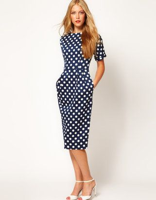 ShopStyle: ASOS Pencil Dress In Wiggle Shape In Spot Print £42  Hello perfect summer occasion dress!
