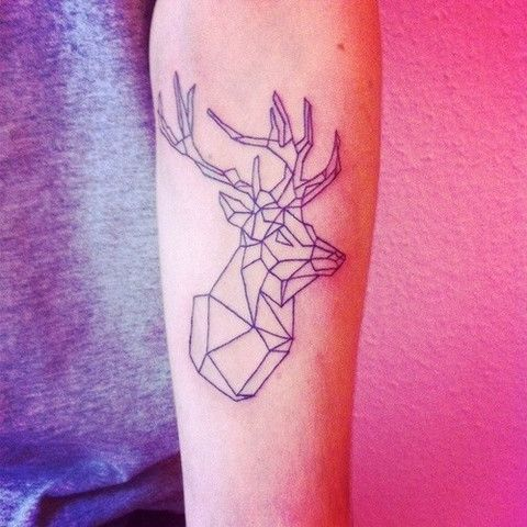 deer stag geometric animal tattoo design