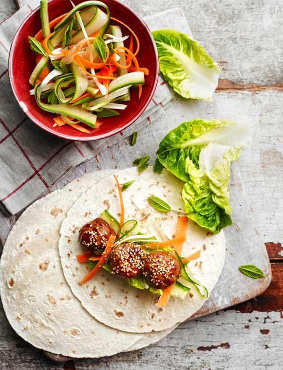 sticky hoisin turkey meatball wraps recipe midweek meals dinner tonight and dinners