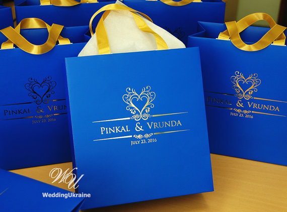100 Wedding Gift Bags With Gold Satin Ribbon And Foil