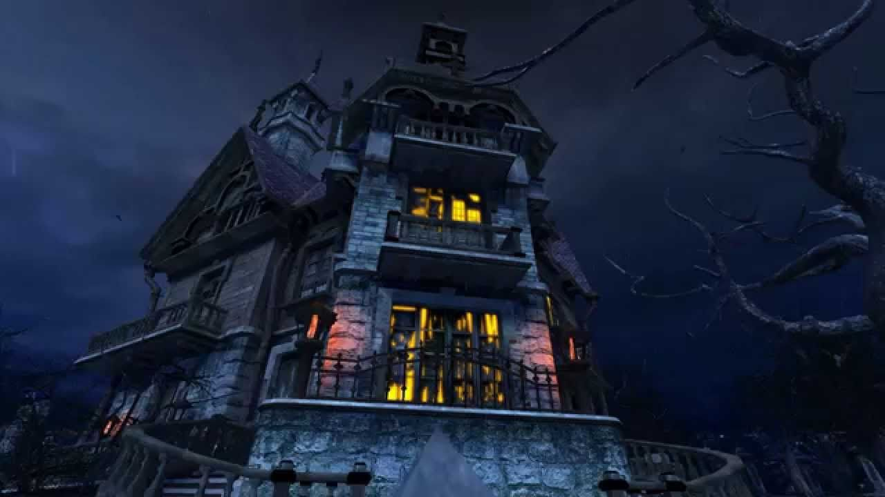 haunted house 3d screensaver, max graphic, 1080p, 60 frames