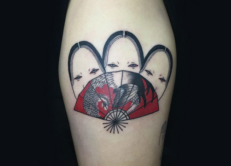 Seductive Japanese Mask Tattoos by Suzani   Japanese mask, Fan ...