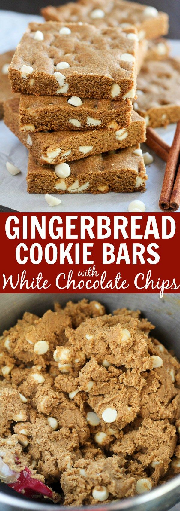Gingerbread Bars with White Chocolate Chips #gingerbreadcookies