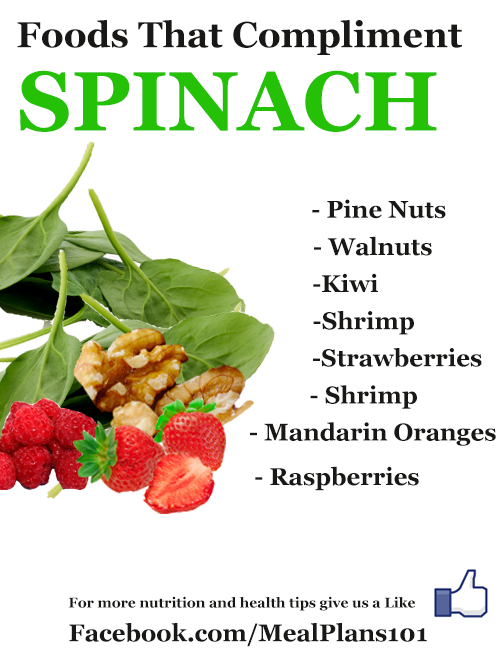 Foods That Compliment Spinach.  http://www.mealplans101.com/healthy-eating-plans/healthy-eating-plans-include-spinach-heres-why/