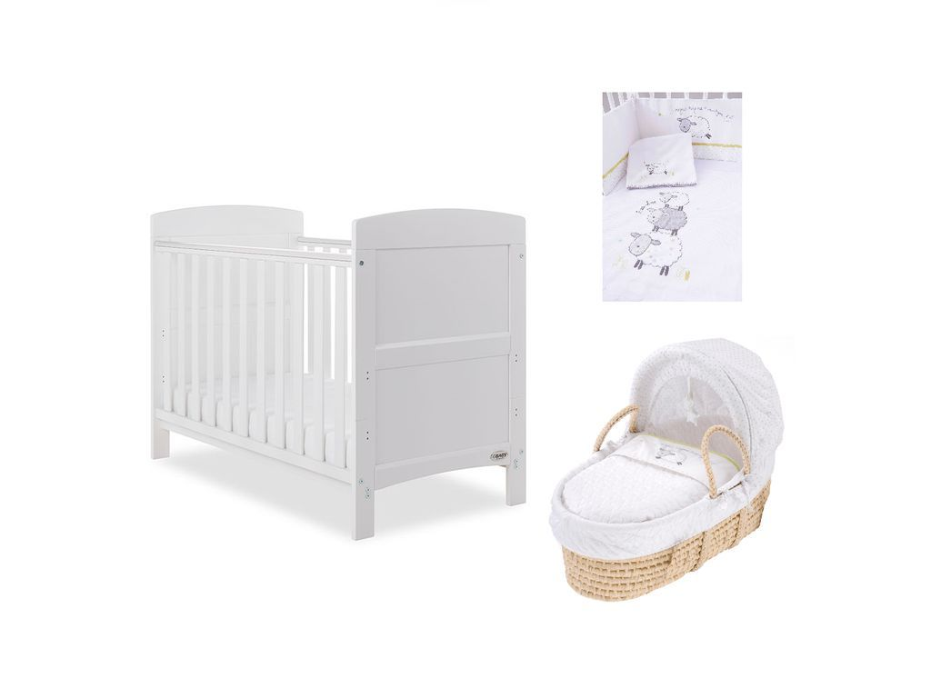 Obaby Grace Mini Cot Bed Mattress Bedding Moses Basket White