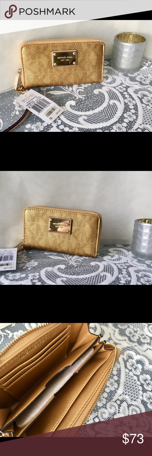 0e82fded30be37 NWT✨Michael Kors✨MK GOLD Signature Metallic Wallet Brand new with tags  gorgeous Michael