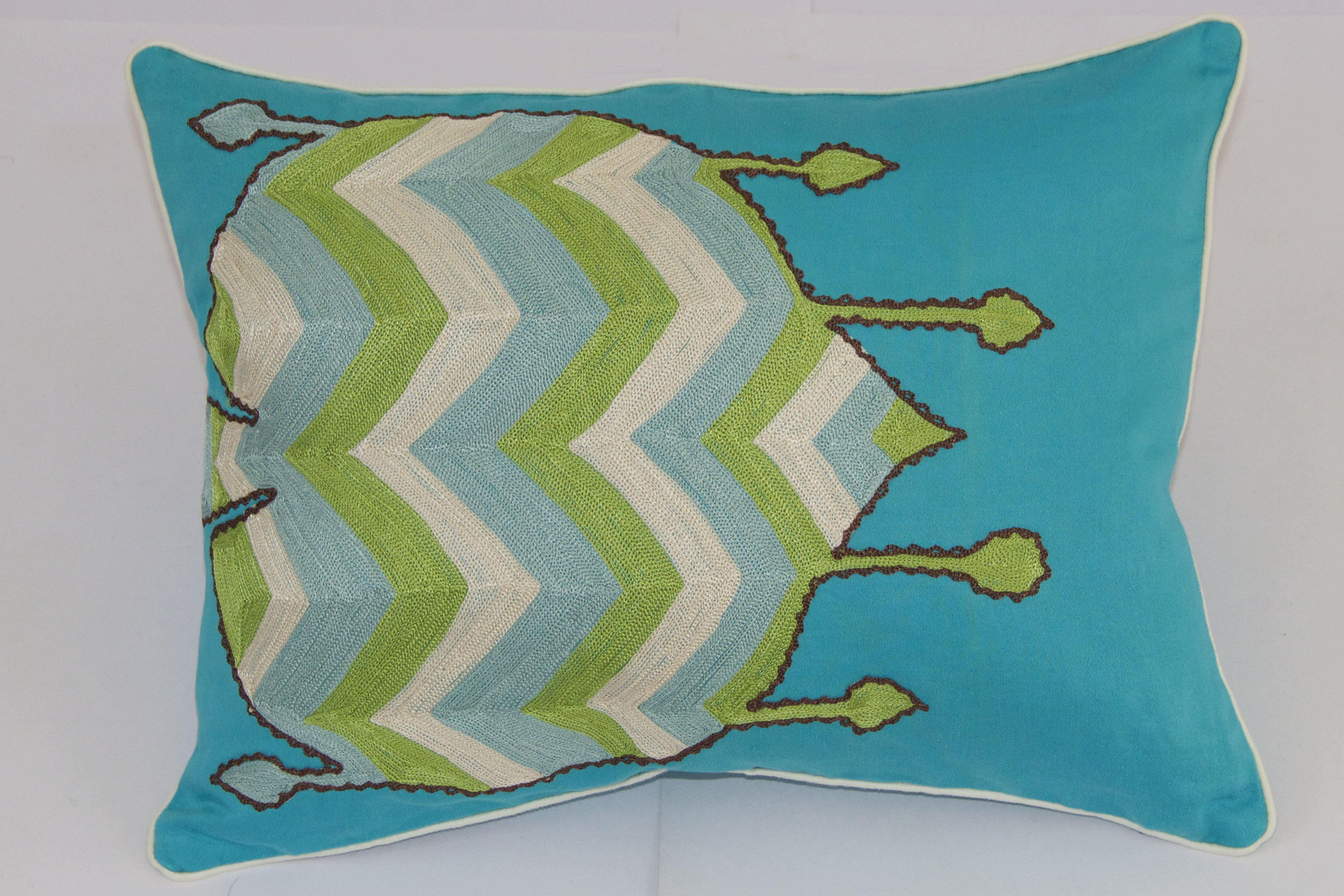 Tulli cushion in teal size x inch u hand embroidery on