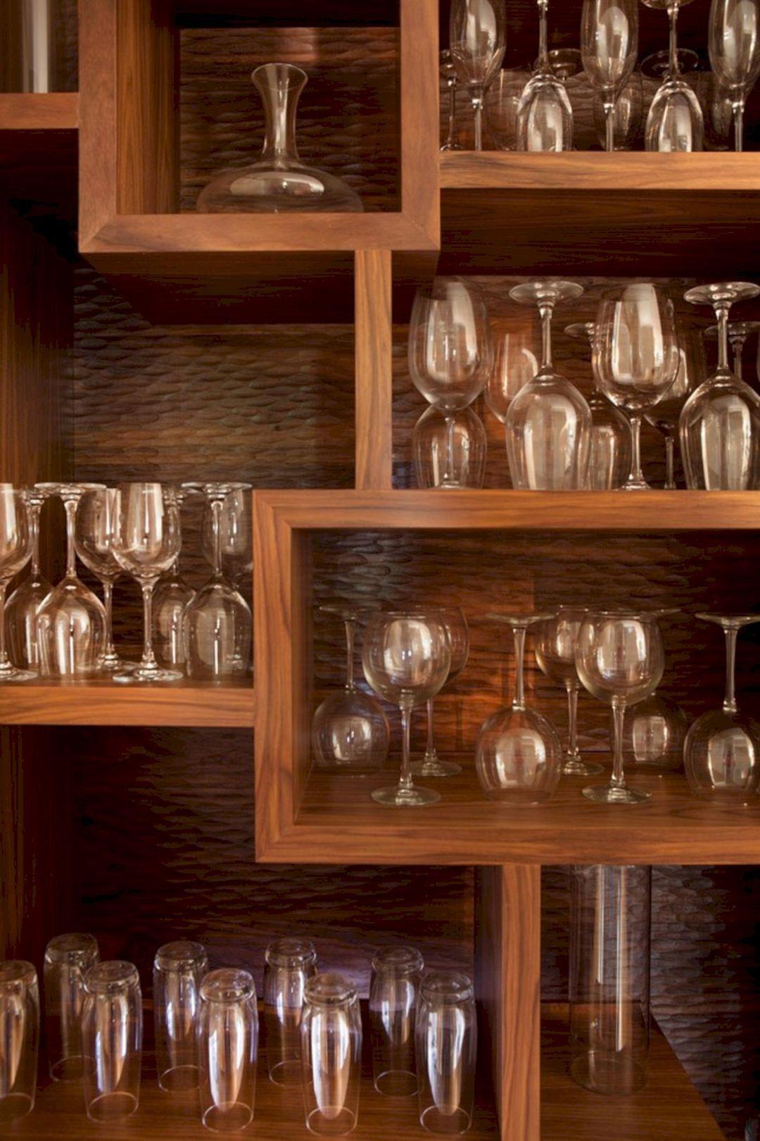 24 Best And Beautiful Wine Storage Ideas For Your Kitchen Wine Glass Storage Basement Bar Design Wine Glass Display