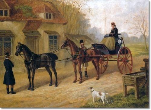 Saddling Up, Edward Benjamin Herberte, 1881. This is a phaeton, a light four-wheeled open ...