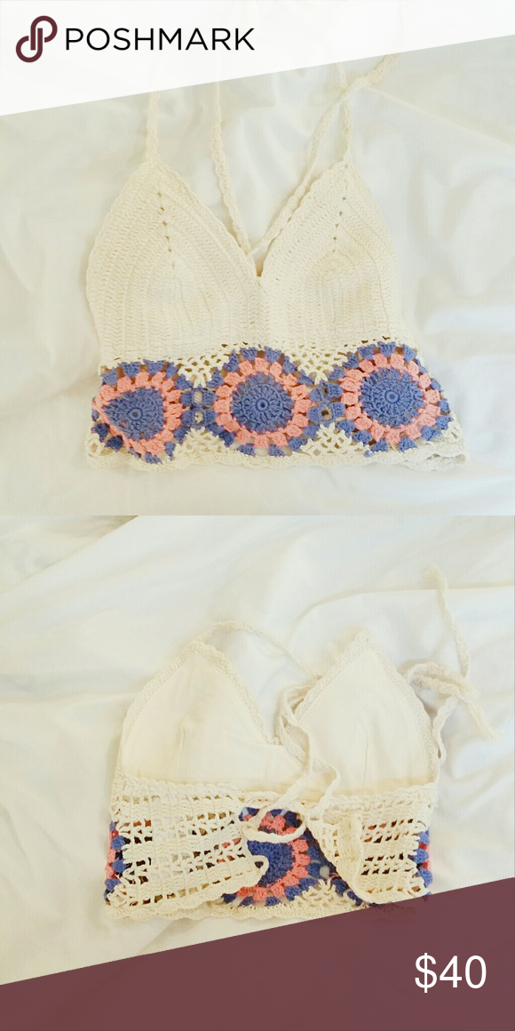 Urban Outfitters crochet top Beautiful crochet top! Worn once. Perfect for the summer and festivals! Urban Outfitters Tops Crop Tops