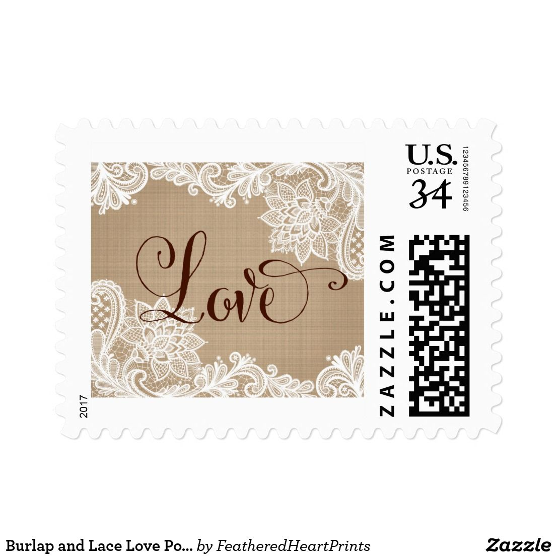 Burlap and Lace Love Postage Stamp   Zazzle com   Postage
