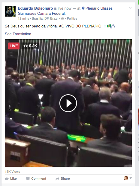 Eduardo Bolsonaro live from the House floor during the impeachment vote for President Rousseff
