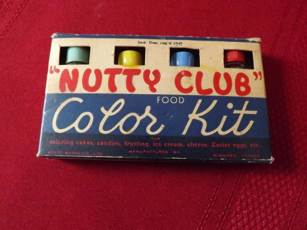 Details about Vintage Nutty Club Food Color Kit Bottles in ...