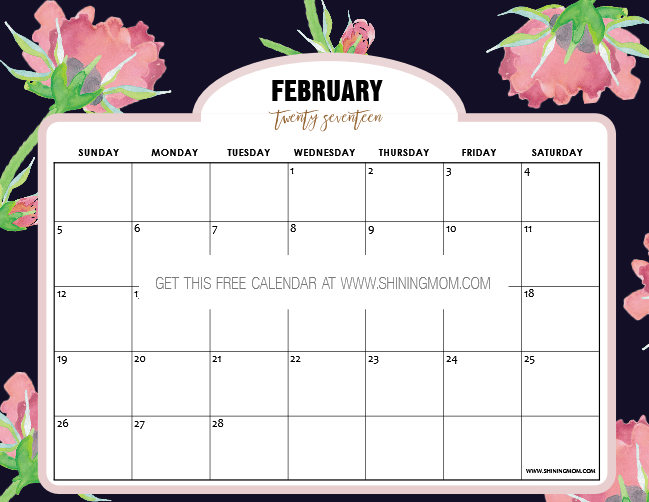 February Calendar Planner : Pretty free printable february calendar with