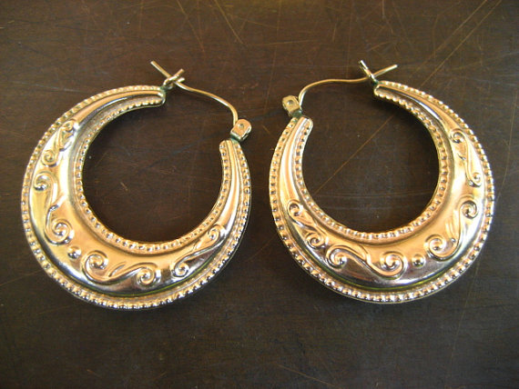 CLEARANCE SALE large 10k gold unique puffed hoop earrings 3 5